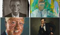 Obama, Kennedy, Clinton y Lincoln, algunos de los retratos presidenciales. Fotos: EFE