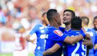Giorgian De Arrascaeta festejando el gol de Cruzeiro. Foto: prensa Cruzeiro