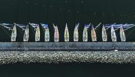 Alineados en la escollera del puerto de Punta del Este, los 12 veleros atrajeron a más de 25.000 turistas. Foto: R. Figueredo