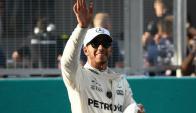 Lewis Hamilton al ganar el Gran Premio de Malasia. Foto: AFP