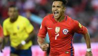 Alexis Sánchez grita el gol de Chile. Foto: AFP
