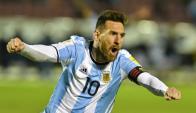 Lionel Messi gritando el gol de la clasificación de Argentina. Foto: AFP