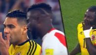 Radamel Falcao explicándole a los peruanos que el empate servía a ambas selecciones
