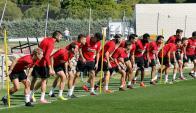 Entrenamiento del Atlético Madrid en la previa del partido con Barcelona