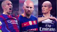 Luis Suárez, Lionel Messi y Edinson Cavani. Foto: Oh My Goal / Facebook