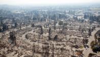 Santa Rosa: una de las urbanizaciones del norte de California más afectadas por el fuego. Foto: AFP
