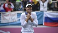 Maria Sharapova muy emocionada al ganar el torneo de Tianjin