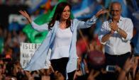 Acto de cierre de campaña de Cristina Fernández de Kirchner. Foto: AFP