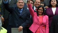 La excanciller Delcy Rodríguez preside la Asamblea Constituyente. Foto: AFp.