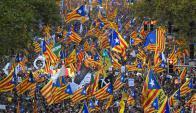 Manifestación independentista el sábado. Foto: AFP.