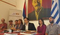 Ediles del FA en conferencia de prensa por denuncia contra el intendentre Bascou. Foto: D. Rojas