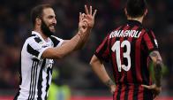 Gonzalo Higuaín festejando el gol de la Juventus en el clásico contra Milan. Foto: AFP