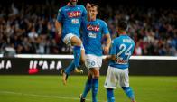Dries Mertens en plena celebración de un nuevo gol