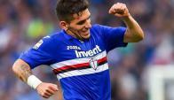 Lucas Torreira celebrando su primer gol en la Serie A de Italia