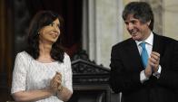 La entonces presidente argentina, Cristina Fernández, y su vicepresidente Amado Boudou. Foto: AFP