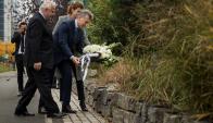 Macri ayer en el lugar del atentado en Nueva York. Foto: AFP