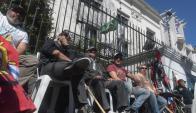Protesta de trabajadores del Sindicato del Gas. Foto: F. Flores