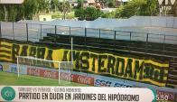 La bandera de Peñarol en la tribuna de Jardines. Foto: captura VTV