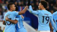 Gabriel Jesús y Leroy Sané, los jóvenes talentos de Manchester City. Foto: AFP