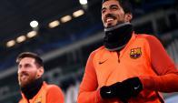 Luis Suárez y Lionel Messi en el Allianz Stadium de Turín