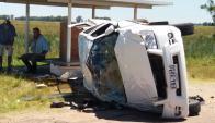 Accidente en ruta 26, cerca de Río Branco. Foto: Luis Silva.