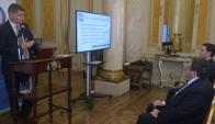 Acto: el jerarca del Poder Judicial, Marcelo Pesce presenta portal. Foto: F. Fllores