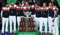 Francia festejando la obtención de su décima Copa Davis. Foto: AFP