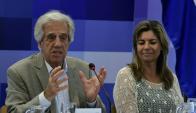 Vázquez y Adriana Peña en Consejo de Ministros en Pirarajá. Foto: Darwin Borrelli.