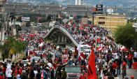 Multitudinarias protestas en varias zonas del país. Foto: AFP