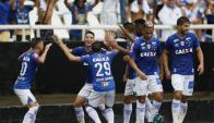 Giorgian De Arracaeta festejando con baile su gol para Cruzeiro. Foto: @Cruzeiro