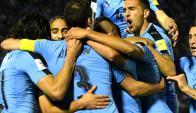 Matías Vecino festeja el gol de Uruguay. Foto: Gerardo Pérez