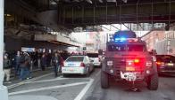 La terminal de bus estuvo cerrada ayer luego del intento del intento de atentado. Foto: AFP