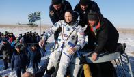 El regreso de los tres astronautas. Foto: Roscosmos.ru