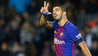 Luis Suárez festeja el gol de Barcelona. Foto: Reuters