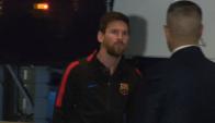 Messi llegando al hotel en Madrid