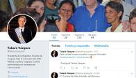 Falsa cuenta de Twitter de Vázquez será denunciada. Foto: Captura.