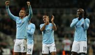 Jugadores del City festejan ante el Newcastle. Foto: EFE
