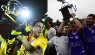 Cristian Rodríguez y Nicolás Correa levantando los trofeos de Uruguayo y Apertura con Peñarol y Defensor. Fotos: Archivo El País