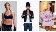 Embajadores. La brasileña Gisele Bündchen es una de las caras de Under Armour; el músico Pharrell Williams suele posar con las tres tiras de Adidas, y la cantante Ariana Grande es la nueva figura de la inglessa Reebok.