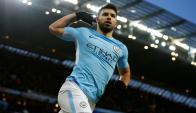 Sergio Agüero festejando el gol de Manchester City. Foto: Reuters