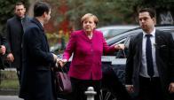 La canciller llegando ayer a las negociaciones con los socialdemócratas. Foto: Reuters