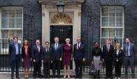 Theresa May ayer en la sede del gobierno británico. Foto: AFP