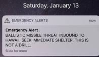 La alarma por un misil balístico se disparó en Hawái. Foto: @DoriToribio