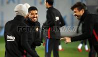 Messi, Suárez y Piqué en el entrenamiento de Barcelona. Foto: fcbarcelona.es