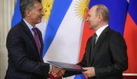 Vladimir Putin y Mauricio Macri. Foto: AFP
