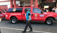 El Departamento Brigadas de Explosivos de la Policía Federal en el estadio Ducó por la amenaza de bomba. Foto: @TNTSportsLA