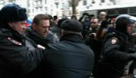 Navalni fue detenido ayer durante una de las manifestaciones en Moscú. Foto: AFP