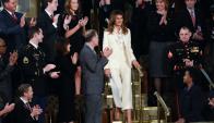 Melania Trump arriba sola al Congreso de Estados Unidos. Foto: AFP