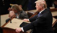 Donald Trump minutos antes de comenzar su discurso. Foto: Reuters