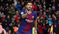 Luis Suárez en la celebración de su último gol ante el Valencia